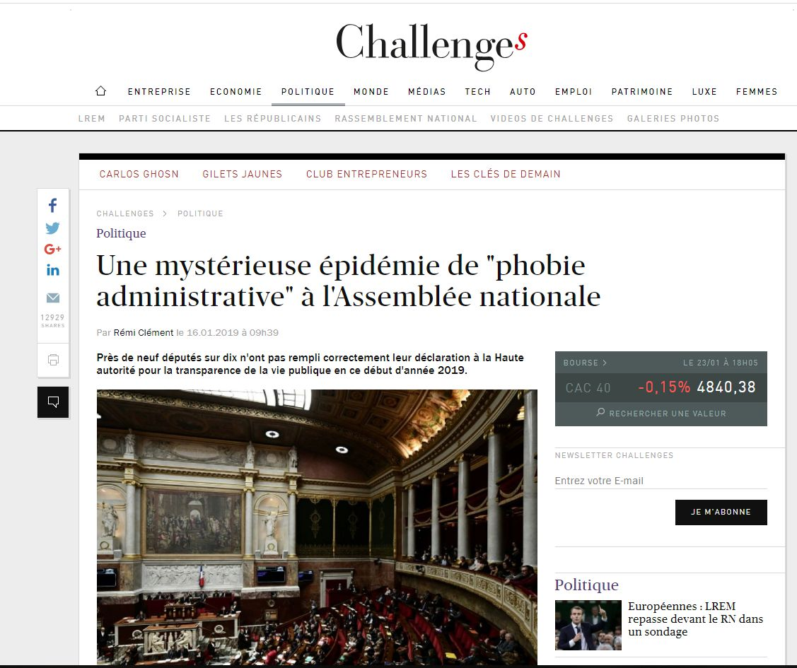 Challenges phobie administrative