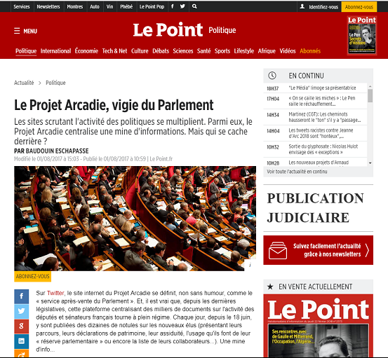 Le Point - Projet Arcadie
